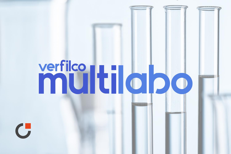 Logo nouveau de Verfilco Multilabo bleu qui intègre le Groupe Prochilab avec son sigle